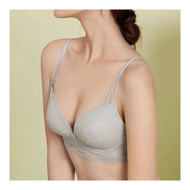 Product Detail - JINSANT Real Silk Sexy Gather Underwear No Steel Ring Beautiful Back Bra NZFAA308 #Light Grey L - image  0
