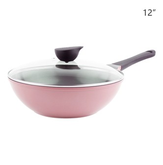 NEOFLAM Nonstick Ceramic Coating Wok Glass Lid Included 12in #Pink 30cm