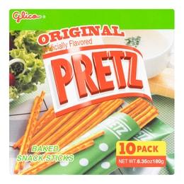 日本GLICO格力高 PRETZ 焙香超细饼干棒 低盐原味 10包入 180g
