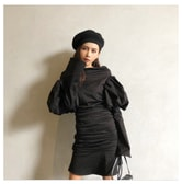 MOIS Puff Sleeves Dress Black /M