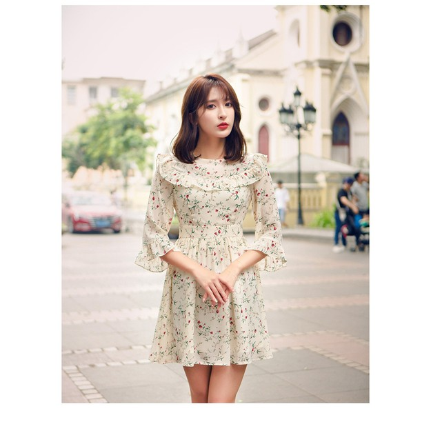 Product Detail - PRINSTORY 2019 Spring/Summer Little Floral Ripple Dress L - image 0