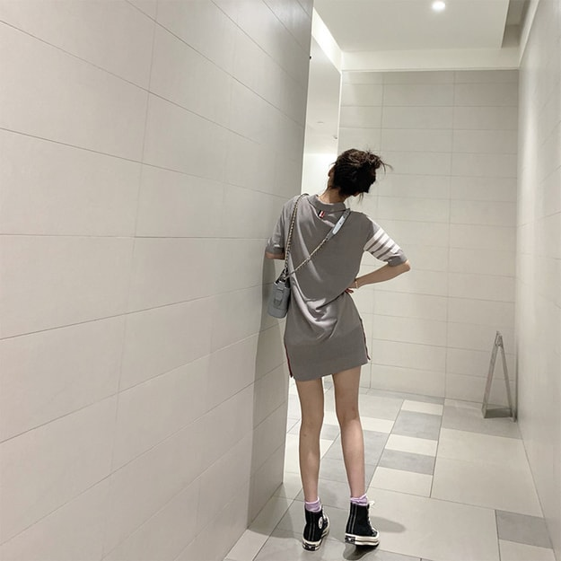 PRINSTORY 2019 Spring/Summer College Style Skinny Dress S
