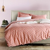 QBEDDING Dots and Stripes 100% Cotton Duvet Cover Set #PeachOrange Twin Size