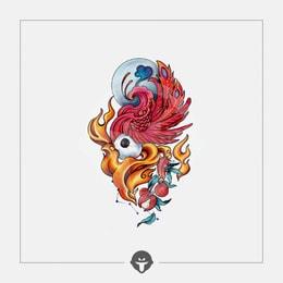 @BECOME Original Tattoo Stickers Rosefinch One Piece