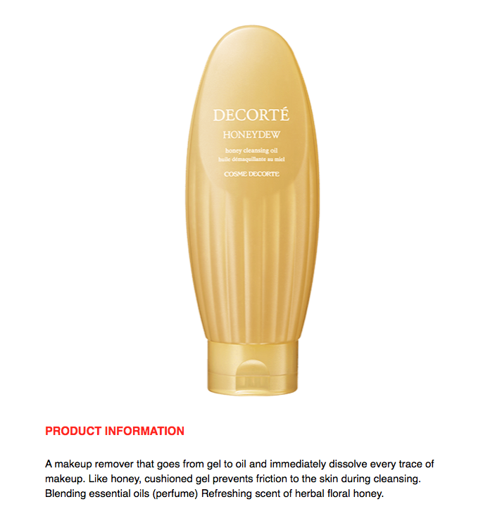COSME DECORTE Honeydew Honey Cleansing Oil 170ml