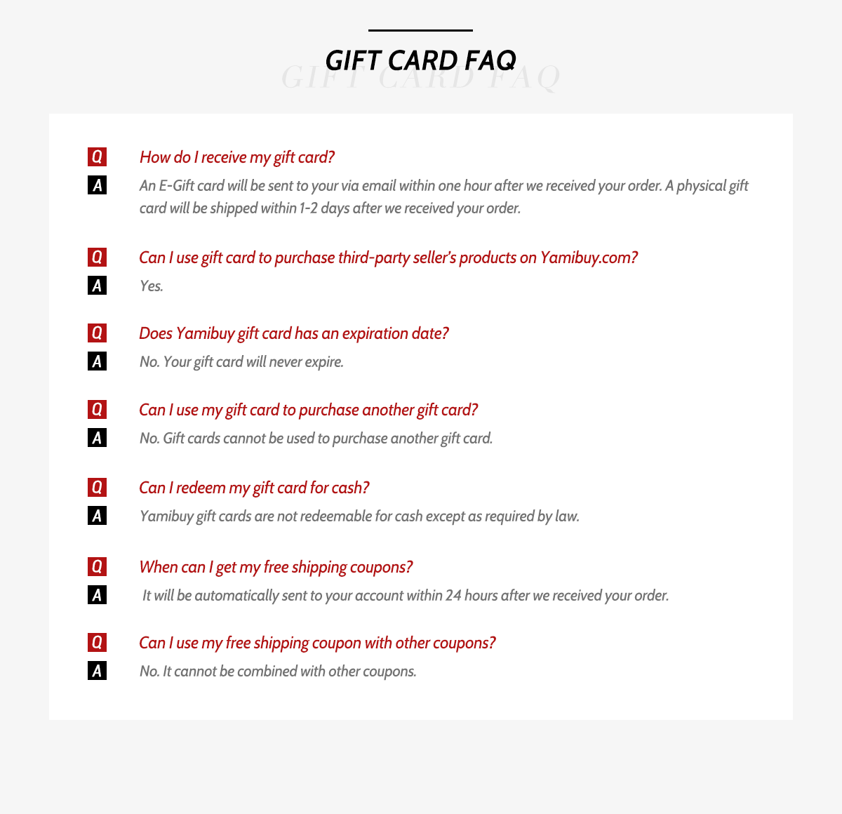 Yamibuy Giftcard - July