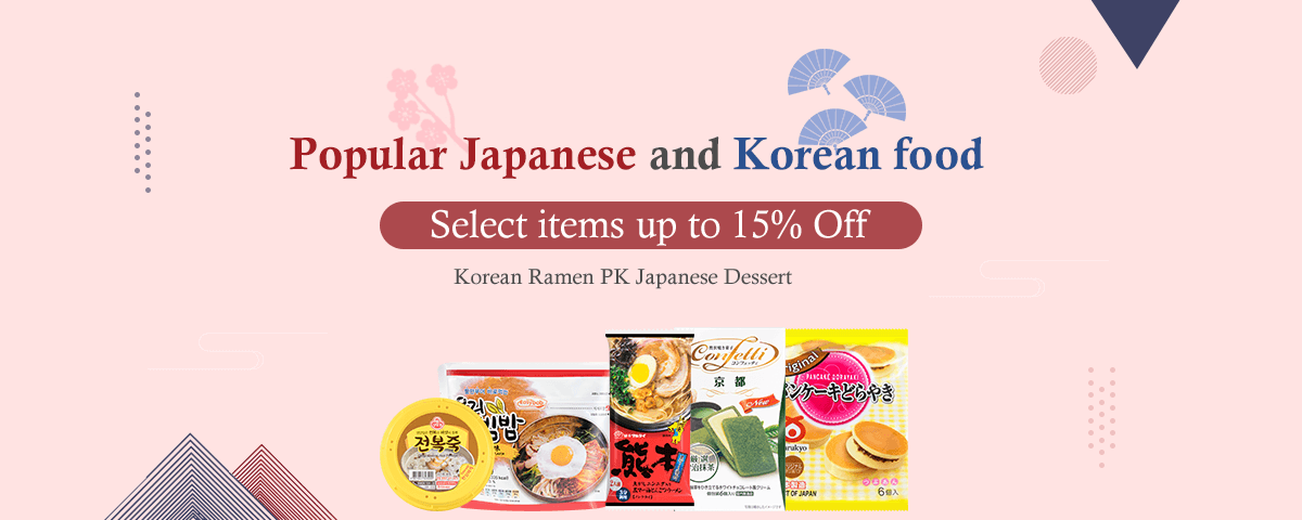 Popular Japanese and Korean food   Select items up to 15% Off
