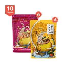 LiZiQi LuoSiFen Spicy Instant Noodle 400g x 5 + Liziqi Liu Zhou Instant Rice Noodle 335g x 5