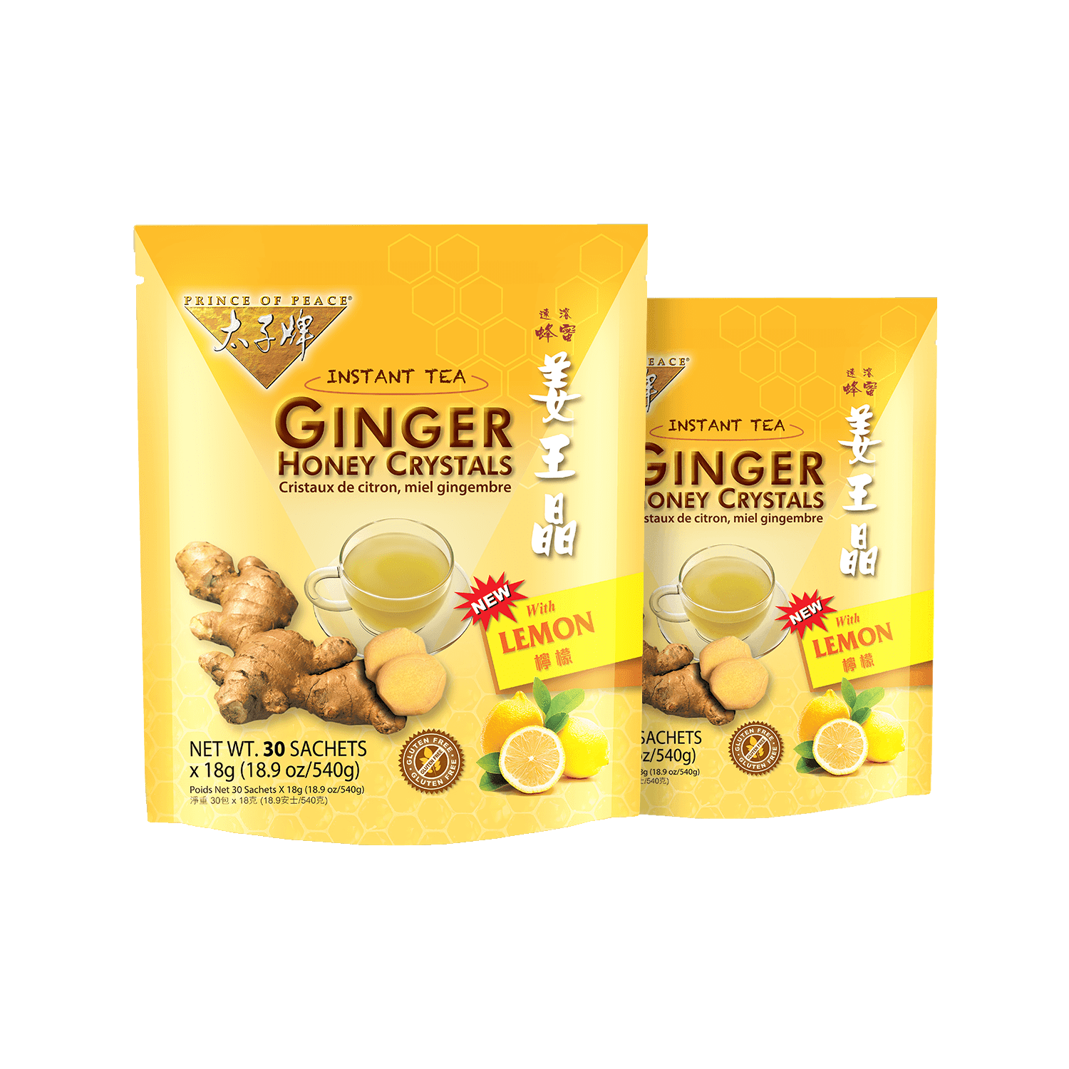 PRINCE OF PEACE Ginger Honey Crystals Instant Tea With Lemon 30bags*2